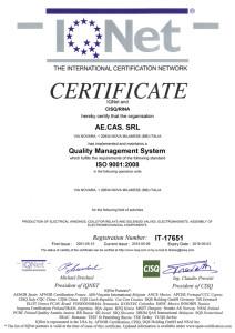 Certificato Iqnet 2015-2018